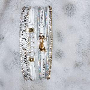 White Leather Band Multi Bracelet